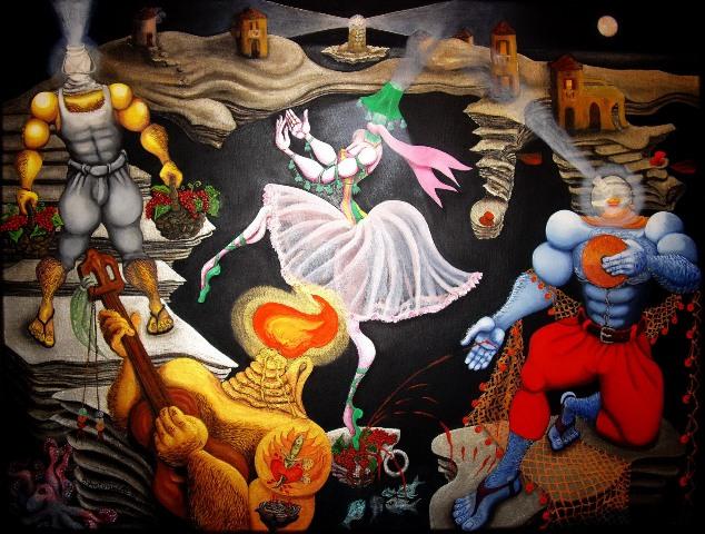ΣΥΛΒΙΑ ΑΝΤΩΝΙΑΔΗ Don Giovanni's flirting 60x80 oil