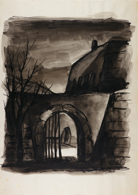 1 Fritta Betrich, Back entrance, 1941-44© Collection of the Yad Vashem Art Museum, Jerusalem