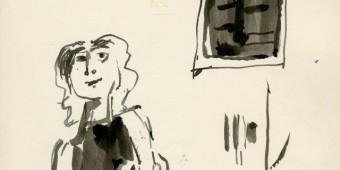 ΚΟΚΚΙΝΙΔΗΣ ΕΞΩΦΥΛΛΟ ΓΥΝΑΙΚΑ ΜΠΡΟΣΤΑ ΣΕ ΤΟΙΧΟ. 1959-1961