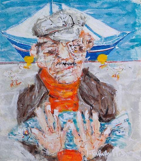 ΤΟΥΡΝΑΒΙΤΗΣ ΘΩΜΑΣ  Captain, 58x52cm, oil on canvas