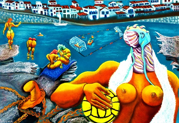 """Water-polo"" 2015  Dry pastel  70x100 cm"