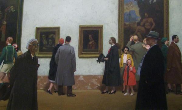 George Leroux (1877-1957) «Dans la Grande Galerie du musée du Louvre» (Μέσα στη Grande Galerie του μουσείου του Λούβρου)