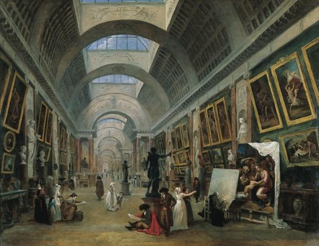 Hubert Robert «Projet d'aménagement de la Grande Galerie du Louvre» (σχέδιο ανάπτυξης της Grande Galerie του Λούβρου) 1796
