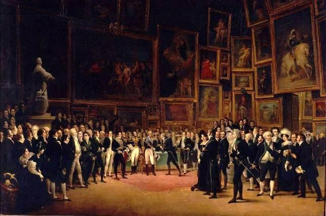 François Joseph Heim, «Charles X distribuant des récompenses aux artistes du Salon de 1824 au Louvre» (Ο βασιλιάς Κάρολος Ι΄ απονέμει τα βραβεία στους καλλιτέχνες του Σαλόν στο Λούβρο το 1824)
