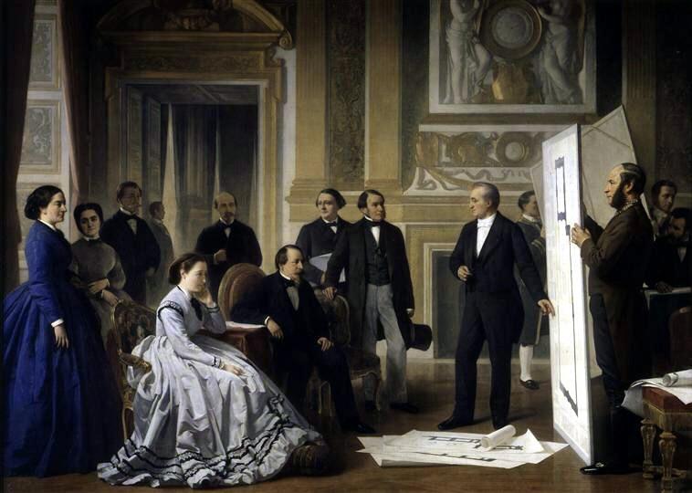 Ange Tissier, «L'architécte Visconti présente à Napoléon III le plan du Nouveau Louvre» (Ο αρχιτέκτονας Visconti παρουσιάζει στον Ναπολέων Γ' το σχέδιο του Νέου Λούβρου), 1866
