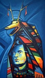 1 Contemporary primitivism- Me and the goat, 2013-2014, acrilic on canvas