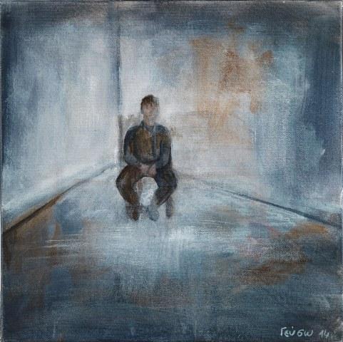 ΓΕΥΣΩ ΠΑΠΑΔΑΚΗ Καταμόναχος στην άδεια παγωμένη κάμαρα,30Χ30 εκ.2014.(Τ.Λειβαδίτης,Αναπότρεπτο)