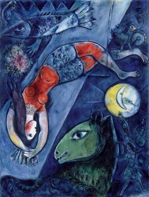 Marc Chagall  cirque-bleu-έργο-εμπνευσμένο-από-την-επίσκεψή-του-Chagall-στην-Ελλάδα