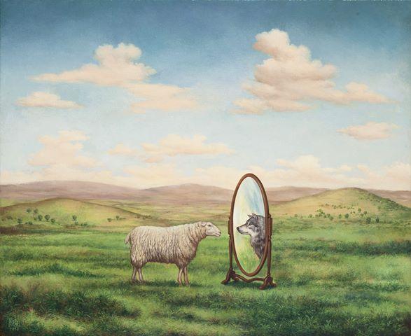 ΝΙΚΟΣ ΑΓΓΕΛΙΔΗΣ Το πρόβατο και ο καθρέφτης, 45 Χ 55  εκ., λάδι σε καμβά, 2013