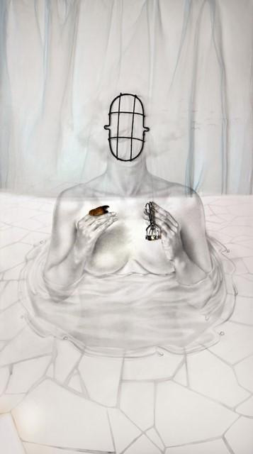 ΛΑΜΠΡΙΝΗ ΜΠΟΒΙΑΤΣΟΥ Η φαντασία της ύλης, μεικτή  τεχνική, 130x65cm, 2015