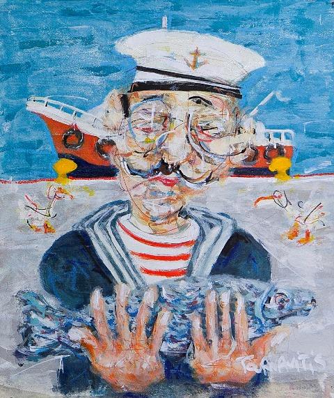 ΤΟΥΡΝΑΒΙΤΗΣ ΘΩΜΑΣ .Sailor, 54x46cm, oil on canvas