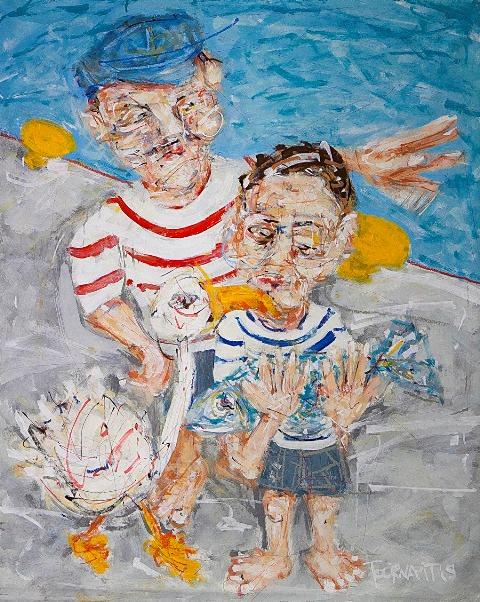 ΤΟΥΡΝΑΒΙΤΗΣ ΘΩΜΑΣ Agora II, 90x73cm, oil on canvas