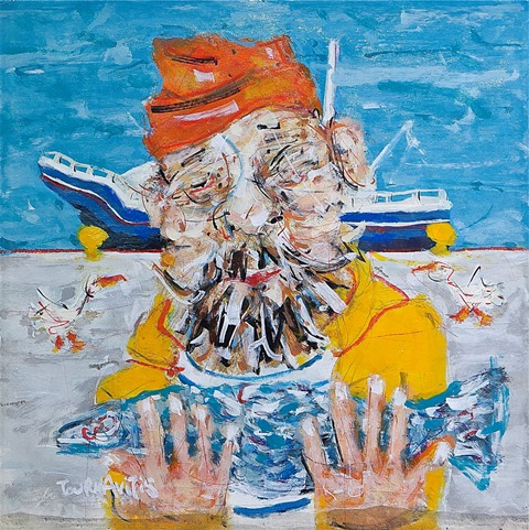 Fisherman 55x55cm, oil on canvasjpg