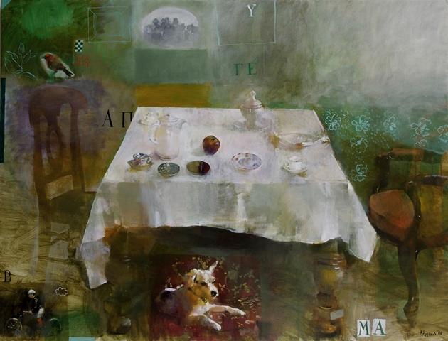 ΓΙΑΝΝΗΣ ΑΔΑΜΑΚΗΣ μετά το μεσημεριανό, 2006, 97Χ130 εκ., ακρυλικά σε μουσαμά.
