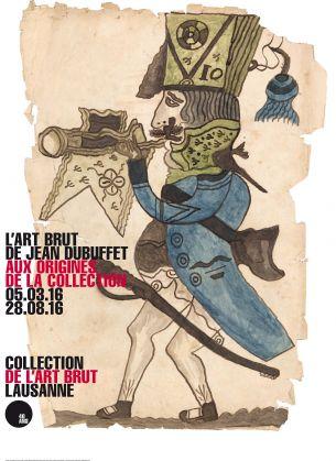 Αφίσα από την έκθεση της Ωμής Τέχνης στη Λοζάνη, που παρουσιάζεται στη Collection de l'Art Brut