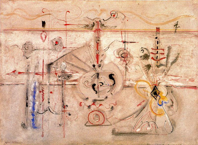 Slow Swirl at the Edge of the Sea- 1944 Ζωγραφισμένο κατά τη διάρκεια της ερωτοτροπίας του με τη δεύτερη σύζυγό του, είναι πιθανό ότι αυτό το έργο αναπαριστά το Rothko και τη Mell. Το έργο αρχικά εξαγοράστηκε από Μουσείο Καλών Τεχνών του Σαν Φρανσίσκο, αλλά τελικά κατέληξε πάλι στον Rothko και κοσμούσε το οικογενειακό αρχοντικό της οικογένειας, στην οδό East 95th Street, από το 1961 μέχρι το θάνατό της Mell το 1970. Τα γυροσκοπικά, στοιχεία που στροβιλίζονται θυμίζουν τα χαριτωμένα καλλιγραφικά σχέδια του Masson και Matta.