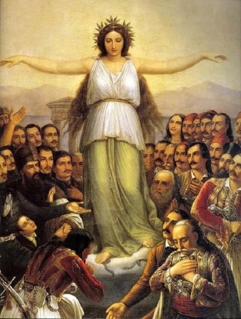Η απελευθε¬ρωμένη Ελλάδα ως κόρη περιστοιχίζεται από τους πρωτεργάτες της Επανάστασης, οι πρόδρομοι Ρήγας Φεραίος, Αδαμάντιος Κοραής, Αλέξανδρος Υψηλάντης, Μιχαήλ Σούτζος, οι αγωνιστές Θεόδωρος Κολοκοτρώνης, Γεώργιος Καραϊσκάκης, Οδυσσέας Ανδρούτσος, Κωνσταντίνος Κανάρης, Ανδρέας Μιαούλης, Λασκαρίνα Μπουμπουλίνα. Για την απόδοση των φυσιογνωμικών χαρακτηριστικών τους, ο Βρυζάκης χρησιμοποιεί τις προσωπογραφίες των αγωνιστών που είχε σχεδιάσει ο Krazeisen και είχαν διαδοθεί με μία σειρά λιθογραφιών που εκδόθηκε στο Μόναχο