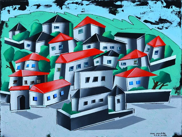 Toni Milaqi    Dervitsani, My Village  (acrylic on canvas, 24x30 cm, 2015)