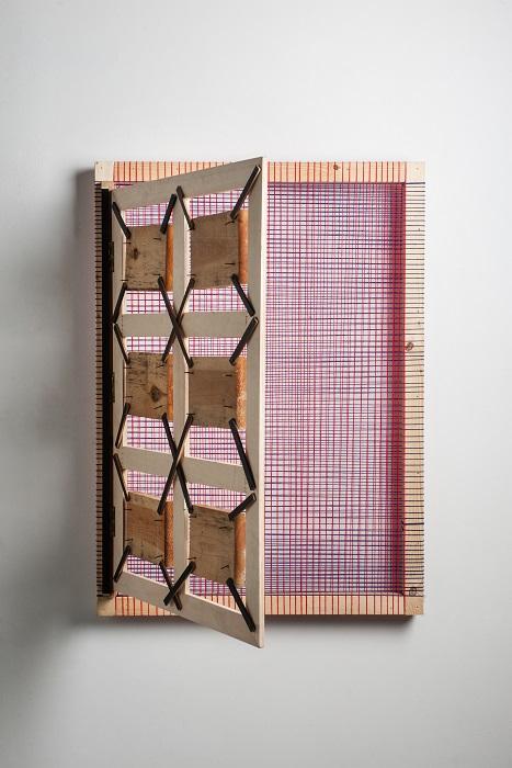 Παράθυρο ξύλο, μαλλί, μπρούντζος, πρόκες, h82X113X13cm κλειστό - 82X113X82cm ανοιχτό, 2014