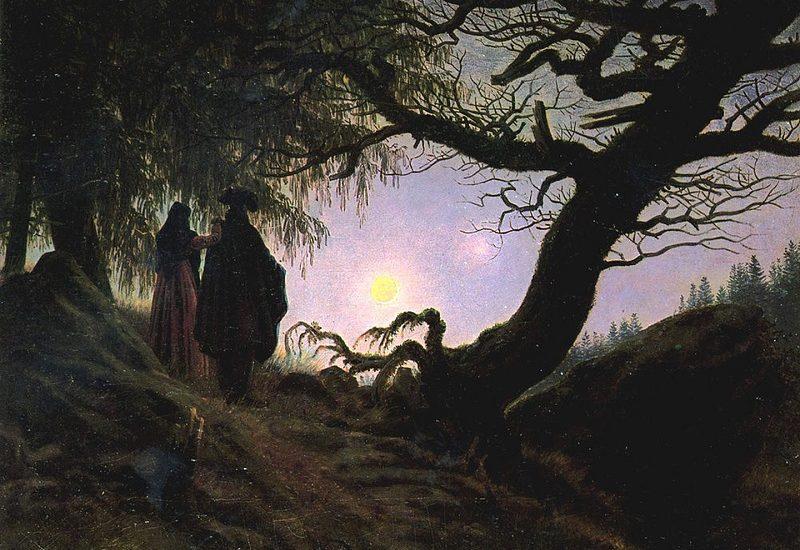 Άνδρας και γυναίκα μελετούν το φεγγάρι