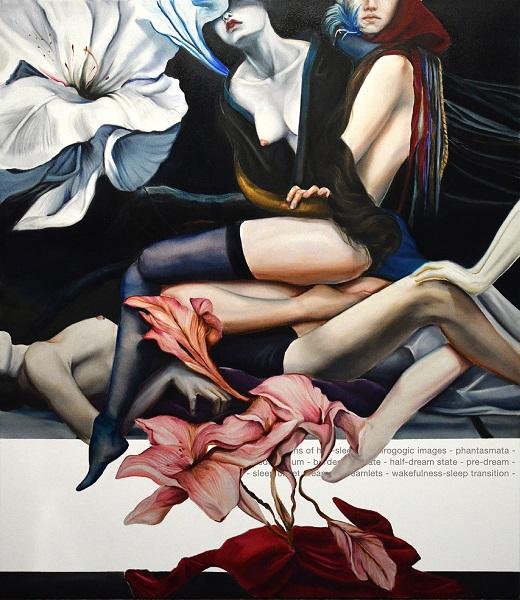 3. Ράνια Εμμανουηλίδου Hypnagogia, 2020, λάδι σε καμβά, βινύλιο, 150 x 140 εκ.