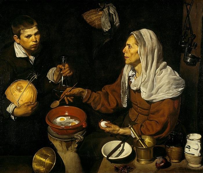 Ντιέγκο Βελάσκεζ- Μια γριά που τηγανίζει τα αυγά. 1618.