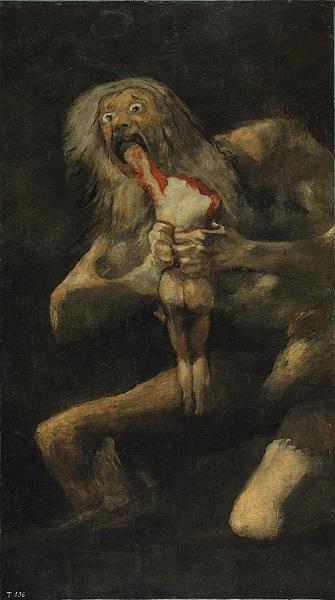 Ο Κρόνος καταβροχθίζει τον γιο του, ο διασημότερος από τους Μαύρους Πίνακες, 1819-1823,