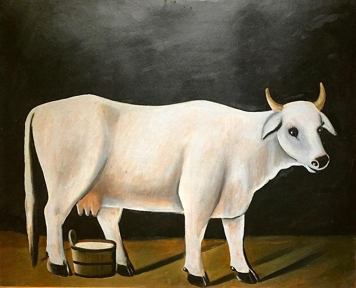Niko Pirosmanashvili. Λευκή αγελάδα σε μαύρο φόντο , 1915,