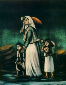 Niko Pirosmanashvili Αγρότισσα με παιδιά πηγαίνουν στο νερό, 1900