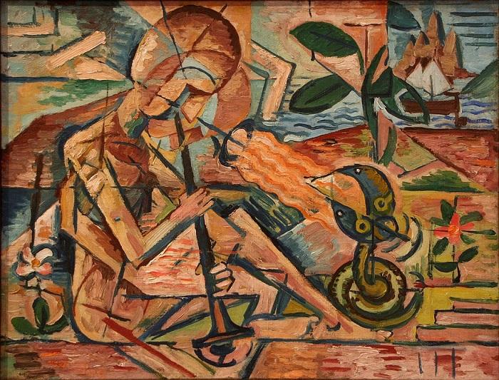 Bohumil Kubišta. Φακίρης με τα φίδια., 1915