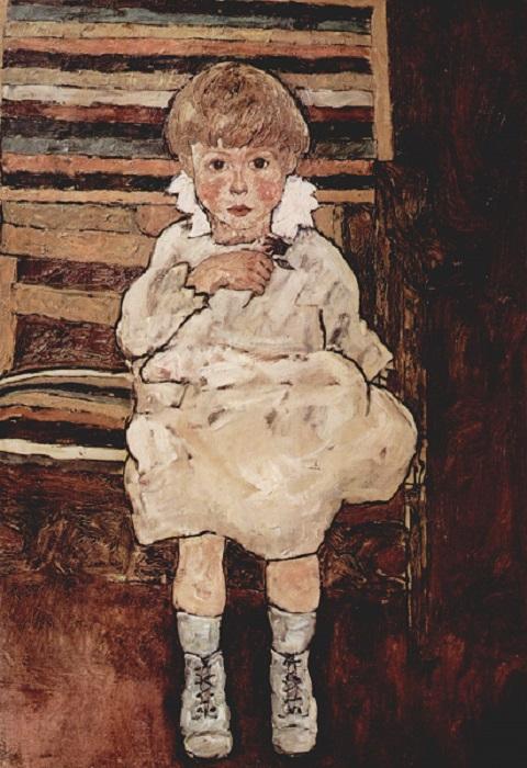 Egon Schiele καθιστό αγόρι. Ένα από τα τελευταία έργα του καλλιτέχνη. 1918