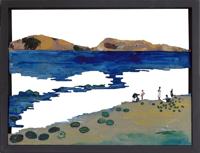ΧΑΡΗΣ ΚΟΝΤΟΣΦΥΡΗΣ, Η παραλία του Παπαλουκά Χάρης 2020, 76χ58 cm@ZG