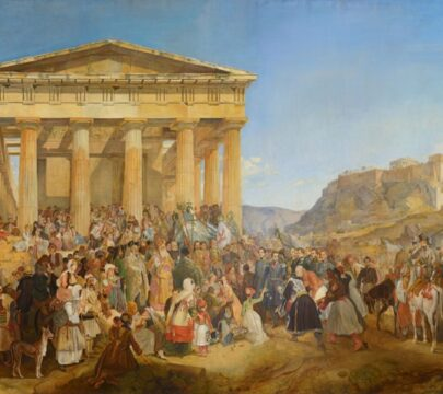 Nikolaos Ferekidis (1862–1929) and monogram G.W., The Entry of King Otho of Greece in Athens, copy of the work by Peter von Hess (1839), 1901, οil on canvas, 200x340 cm. National Bank of Greece