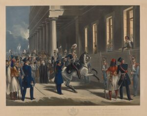 Henry Martens (1790 – 1868), The Revolution of 3 September 1843 , 1847, hand - coloured copper engraving, 70 x 84 . Benaki Museum 24135