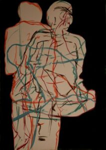 igures, oil on paper and plywood, 100Χ70 cm, 2007